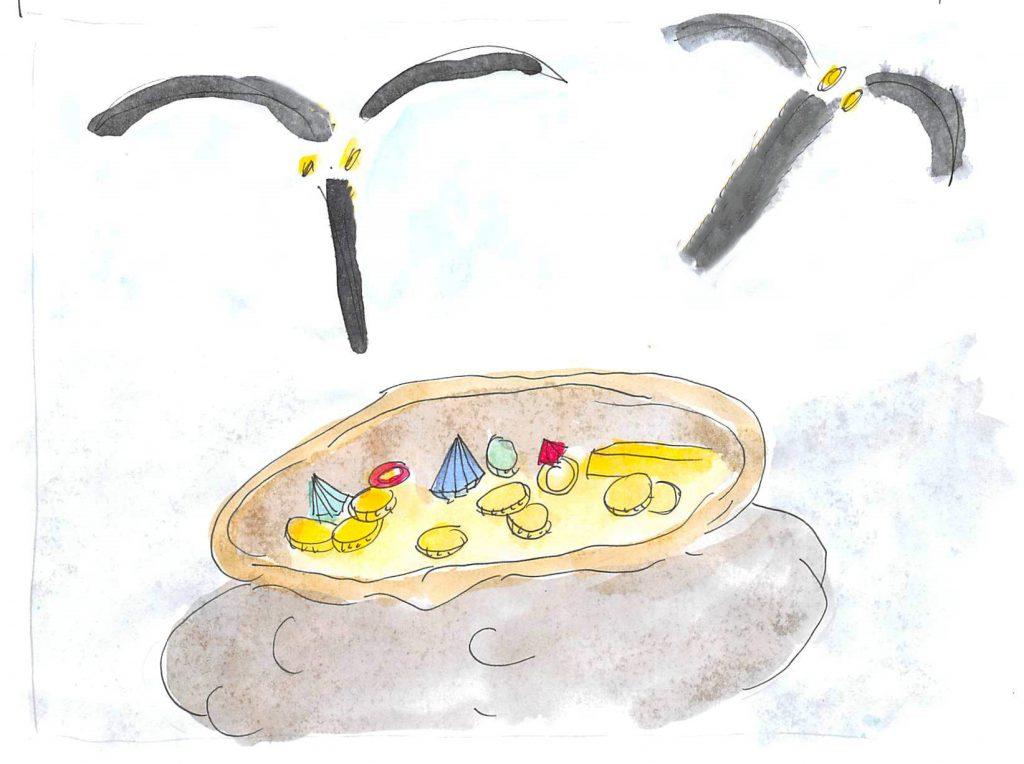Une image contenant table, assis, jaune  Description générée automatiquement